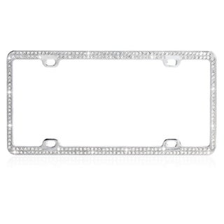 INSTEN White Crystals Chrome Coating Metal Frame/ Double Row Crystals
