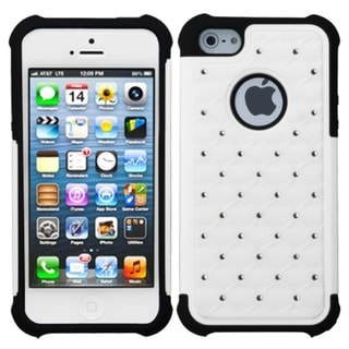 INSTEN White/ Black Lattice Total Defense Case Cover for Apple iPhone 5