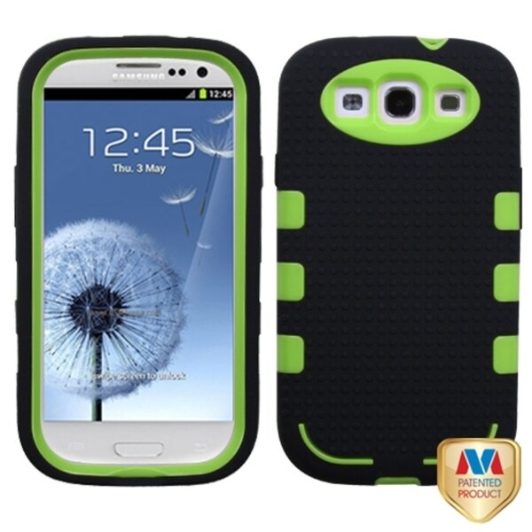 INSTEN Pearl Green/ Black TUFF eNUF Hybrid Phone Case Cover for Samsung Galaxy S3