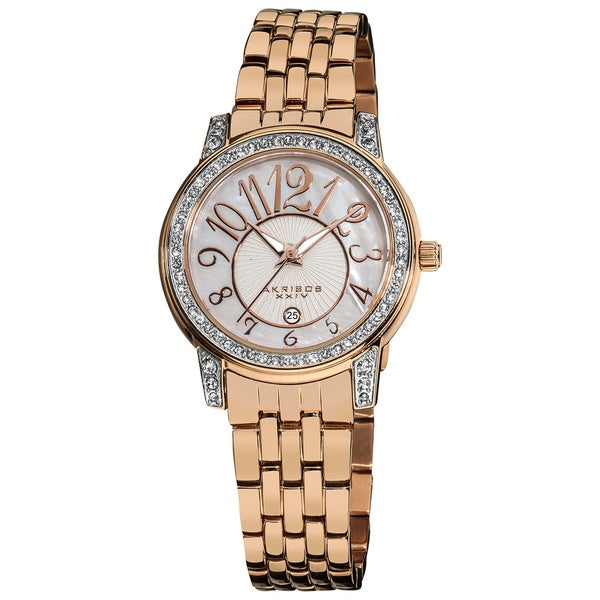 Akribos XXIV Women's Rose-Tone Stainless-Steel Sparkle Mother-of-Pearl Quartz Watch