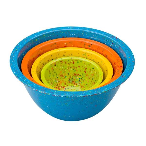 Zak! Turquoise Confetti 4-piece Nesting Bowl Set