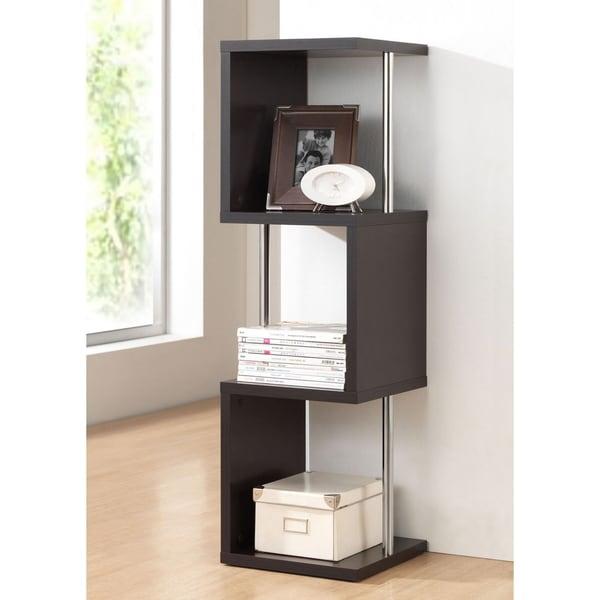 baxton studio lindy dark brown 3tier display shelf