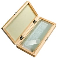 Barska 50 Prepared Microscope Slides and Wooden Case - brown