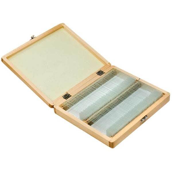 Barska 100 Prepared Microscope Slides and Wooden Case - Black