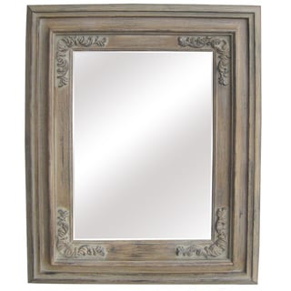 Antique Wood Traditional Rectangular 34-inch Wall Mirror