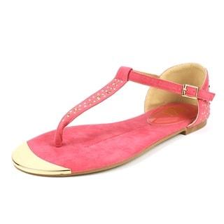 Fahrenheit Women's 'FAMKE-01' Coral Rhinestones T-strap Flat Sandals