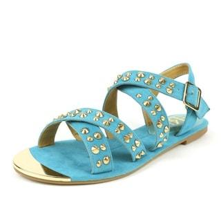 Fahrenheit Women's 'FAMKE-02' Mint Strappy Studded Flat Sandals
