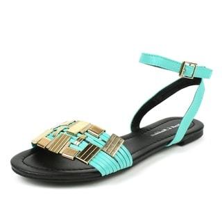 Mark & Maddux Women's 'TYSON-01' Mint Metallic Accent Flat Sandals