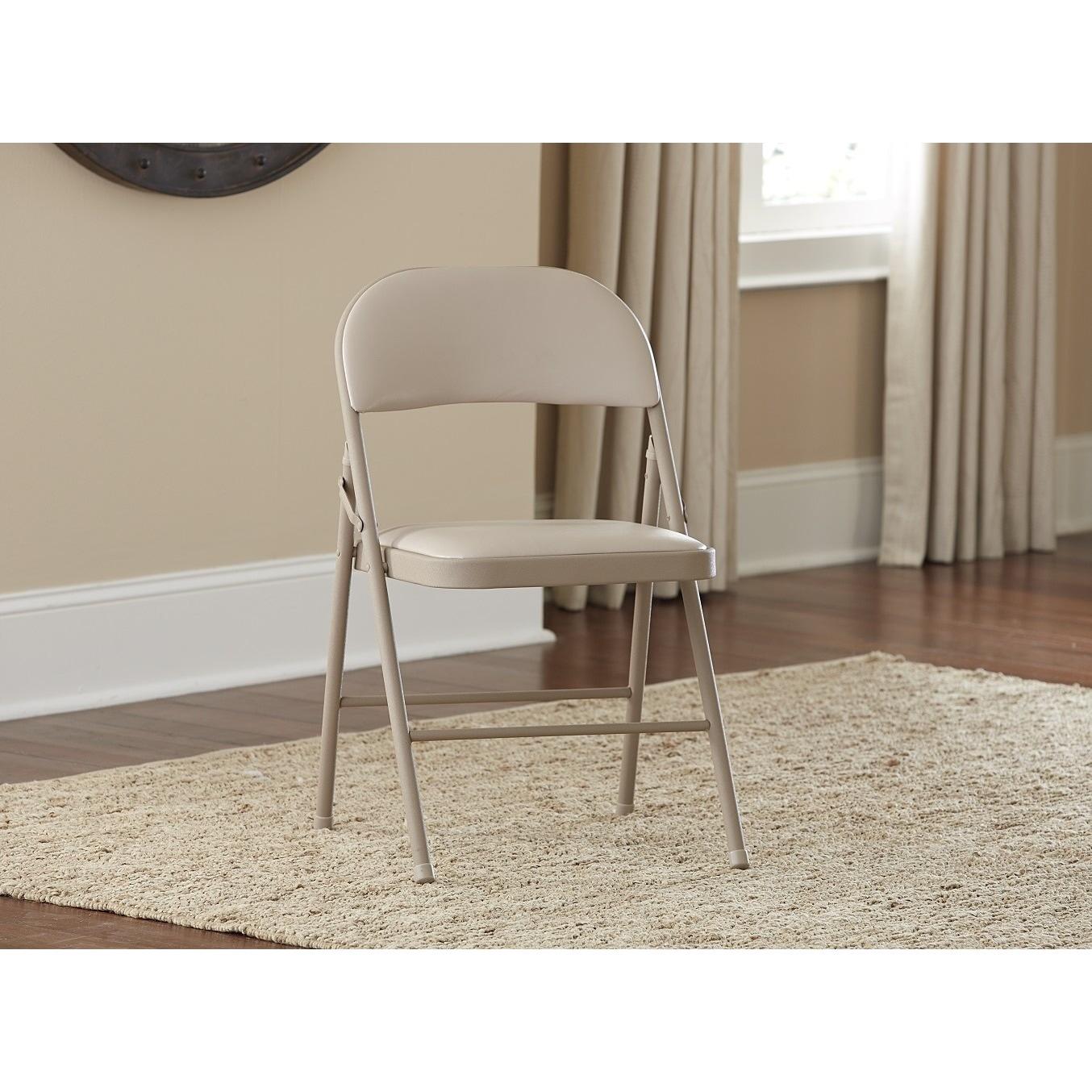 Cosco Vinyl Folding Chair 4 Pack (Antique Linen), Brown