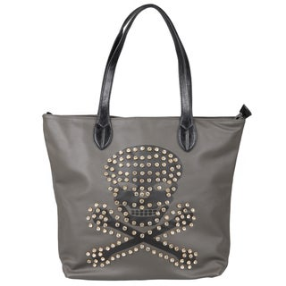 Journee Collection Women's Bejeweled Skull Double Handle Tote Bag