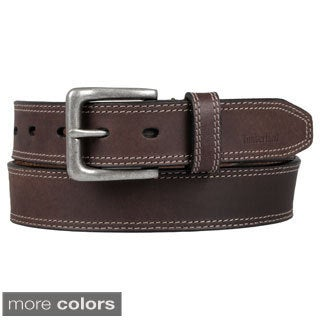 Timberland Men's Topstitched Genuine Leather Belt