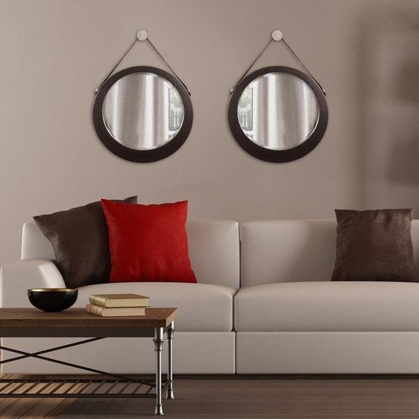 Bloomington Espresso Brown Round Accent Mirror