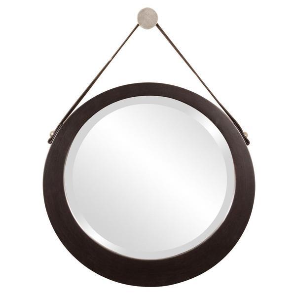Bloomington Espresso Brown Round Mirror
