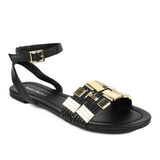 Mark & Maddux Women's 'TYSON-01' Black Metallic Accent Flat Sandals