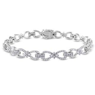 Miadora Signature Collection 10k White Gold 1ct TDW Diamond White Sapphire Bracelet (SI1-SI2)