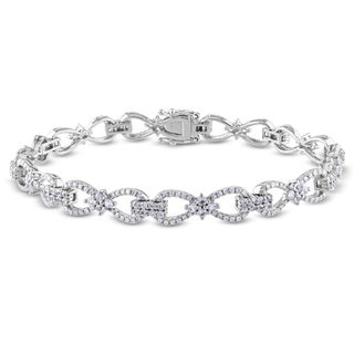 Miadora Signature Collection 10k White Gold 1ct TDW Diamond White Sapphire Bracelet (SI1-SI2)
