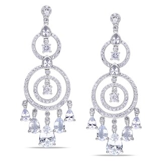 Miadora Signature Collection 10k White Gold White Sapphire Chandelier Earrings