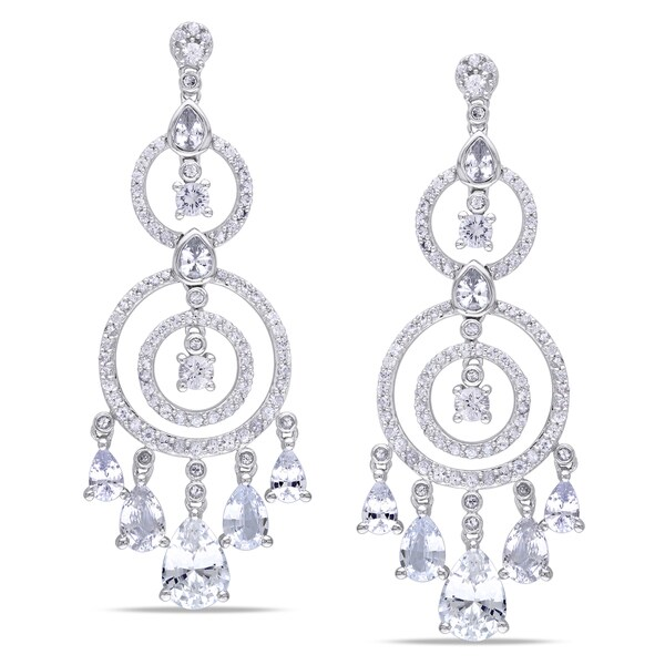Shop miadora signature collection 10k white gold white sapphire miadora signature collection 10k white gold white sapphire chandelier earrings aloadofball Images