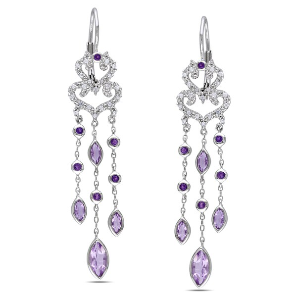 Miadora Sterling Silver Amethyst 1/4ct TDW Diamond Earrings (H-I, I2-I3)
