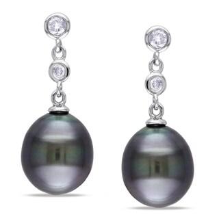Miadora 14k White Gold Tahitian Pearl 1/5ct Diamond Earrings (G-H, I1-I2)