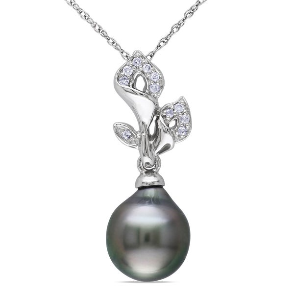 Miadora 10k White Gold Tahitian Pearl and Diamond Flower Necklace