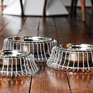 Unleashed Life Castro Platinum Wire Dog Bowl