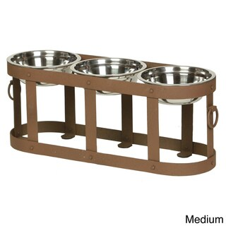 Tripoli Raised Iron Triple Dog Feeder