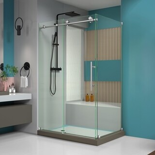 DreamLine Enigma-X 34 1/2 in. by 48 3/8 in. Fully Frameless Sliding Shower Enclosure (2 options available)