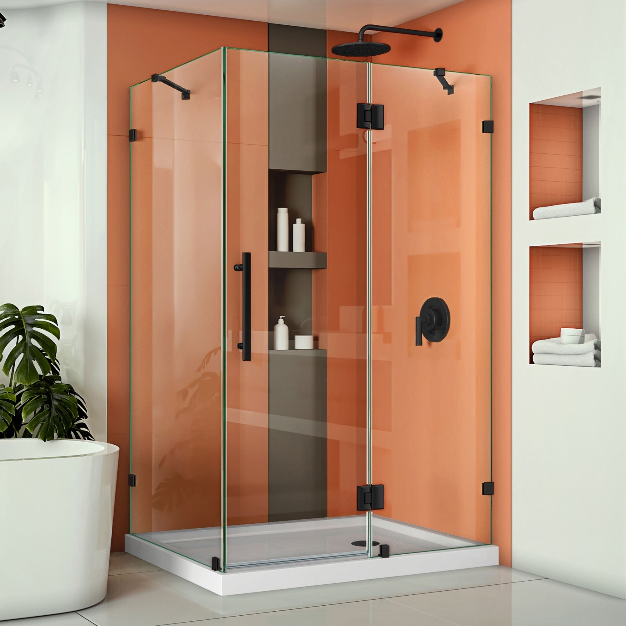 Dreamline Quatra Lux 34 1 4 In D X 46 3 8 W 72 H Hinged Shower Enclosure With Support Arms 25 38