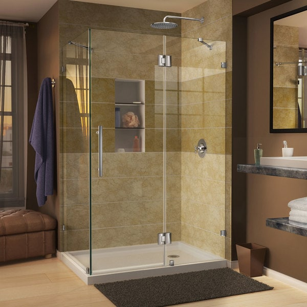 DreamLine Quatra Lux 34 5/16 in. by 46 5/16 in. Frameless Hinged Shower Enclosure