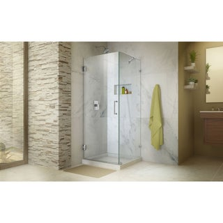 DreamLine Unidoor Lux 30 3/8 in. W x 30 in. D x 72 in. H Fully Frameless Hinged Shower Enclosure with Support Arm