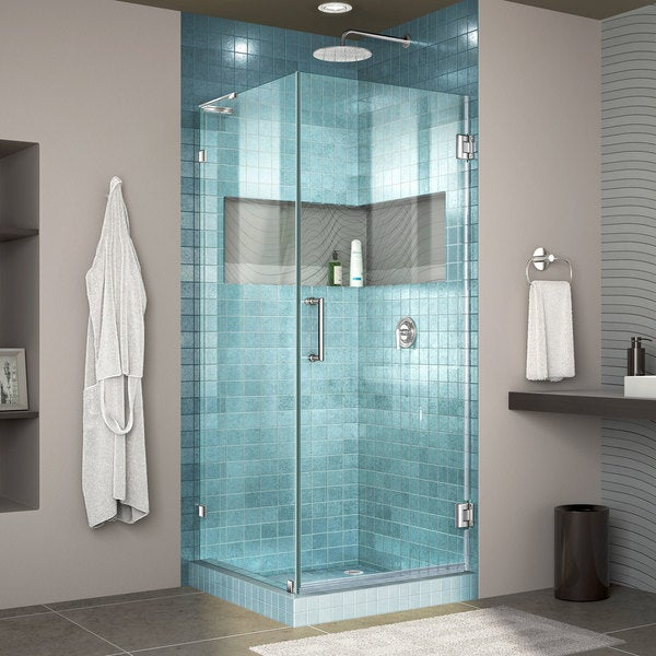DreamLine Unidoor Lux 30-3/8 in. by 30 in. Frameless Hinged Shower ...