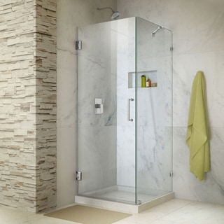 "DreamLine Unidoor Lux 30 3/8 in. W x 30 in. D x 72 in. H Hinged Shower Enclosure with Support Arm - 30"" x 30.38"""