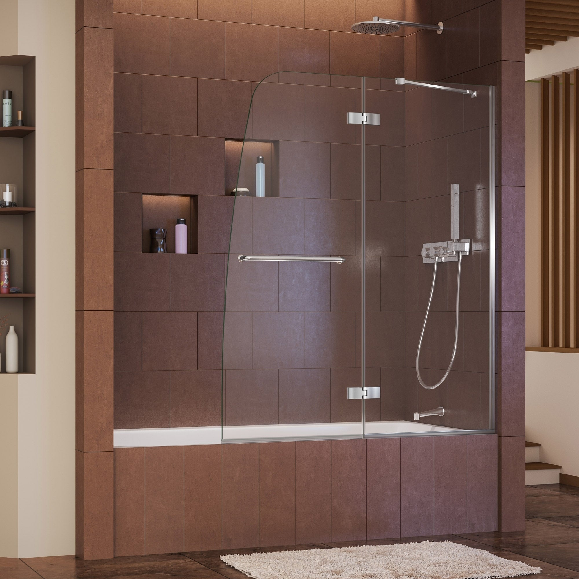 Dreamline Aqua Ultra 48 in. Frameless Hinged Tub Door (Br...