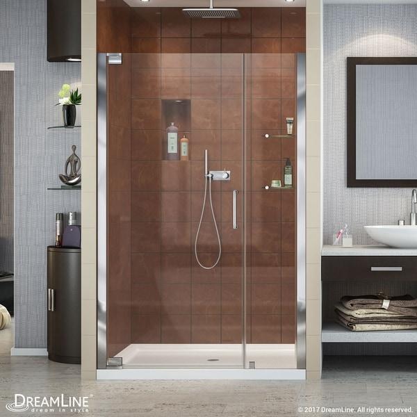 Shop DreamLine Elegance 46-48 in. W x 72 in. H Frameless Pivot ...