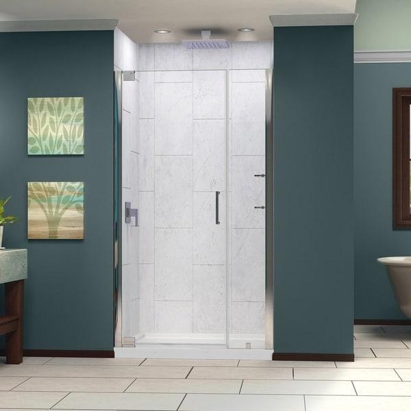 oil rubbed bronze dreamline elegance 46 to 48 inch frameless pivot shower door