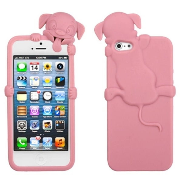 INSTEN Pink Dog Soft Silicone Phone Case with Stand for Apple iPhone 5/ 5S/ SE