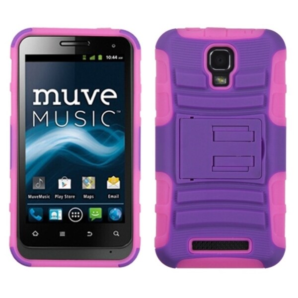 INSTEN Purple/ Electric Pink Phone Case Cover with Stand for ZTE V8000 Engage