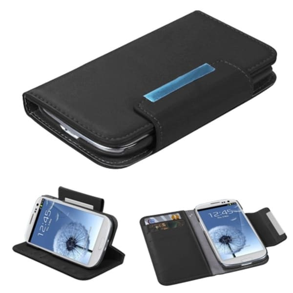 INSTEN Black Book-Style Wallet/ Tray for Samsung Galaxy S3