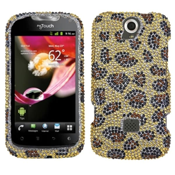 INSTEN Leopard Skin/ Camel Diamante Phone Case Cover for Huawei U8730 myTouch Q