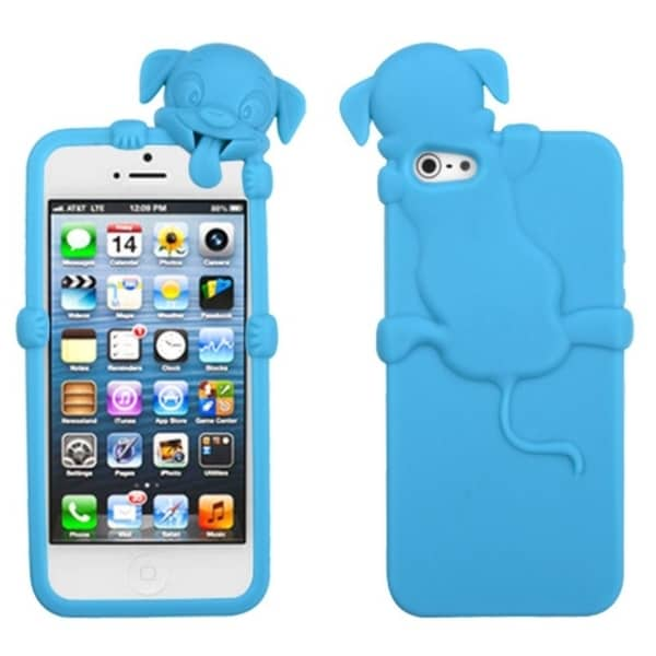 INSTEN Baby Blue Dog Peeking Pets Skin Phone Case Cover for Apple iPhone 5