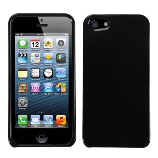 INSTEN Solid Black Hard Shell Case Cover for Apple iPhone 5