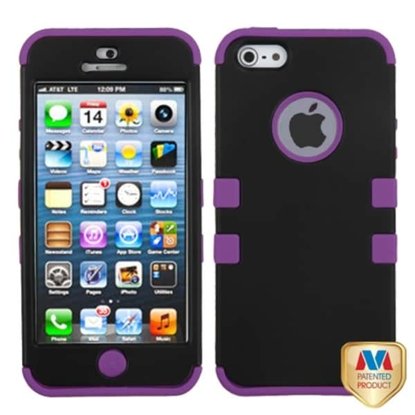 BasAcc Black/ Purple Rubber Case for Apple iPhone 5