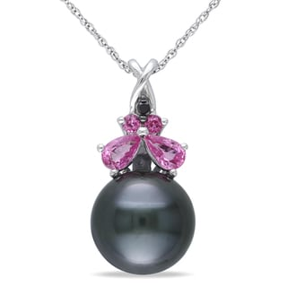 Miadora 10k White Gold Pearl Pink Sapphire and Black Diamond Necklace