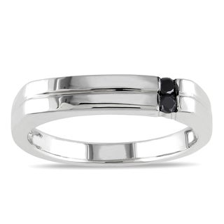 Miadora Sterling Silver 1/10ct TDW Men's Black Diamond Ring