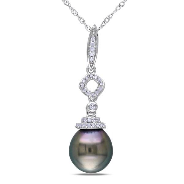 Miadora 14k White Gold Tahitian Pearl 1/10ct Diamond Necklace (G-H, I1-I2)