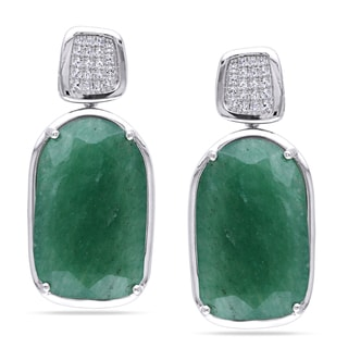 Miadora Sterling Silver 37ct TGW Aventurine and White Sapphire Earrings