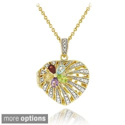 Glitzy Rocks Two-tone Multi-gemstone and Diamond Heart Locket Necklace