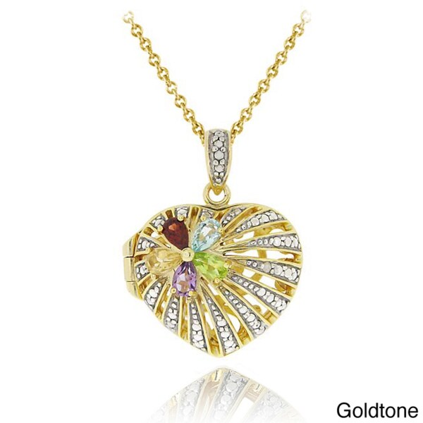 Glitzy Rocks Two-tone Multi-gemstone and Diamond Heart Locket Necklace