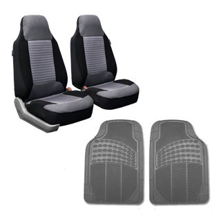 FH Group Gray Front Bucket Seat Covers and Front Floor Mats Combo Set